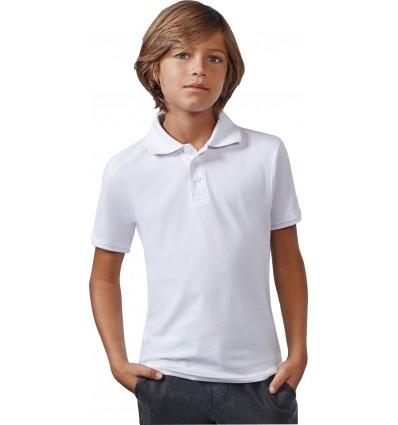 Tricou polo alb copii 180g